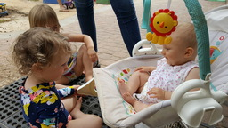 Baby Weslynn making older friends